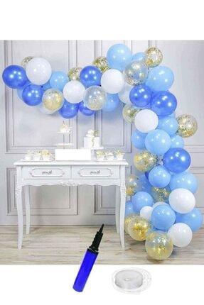 Kullan At Market Beyaz-açık Mavi-lacivert-altın Konfetili Şeffaf Doğum Günü Balon Zinciri 62 Parça