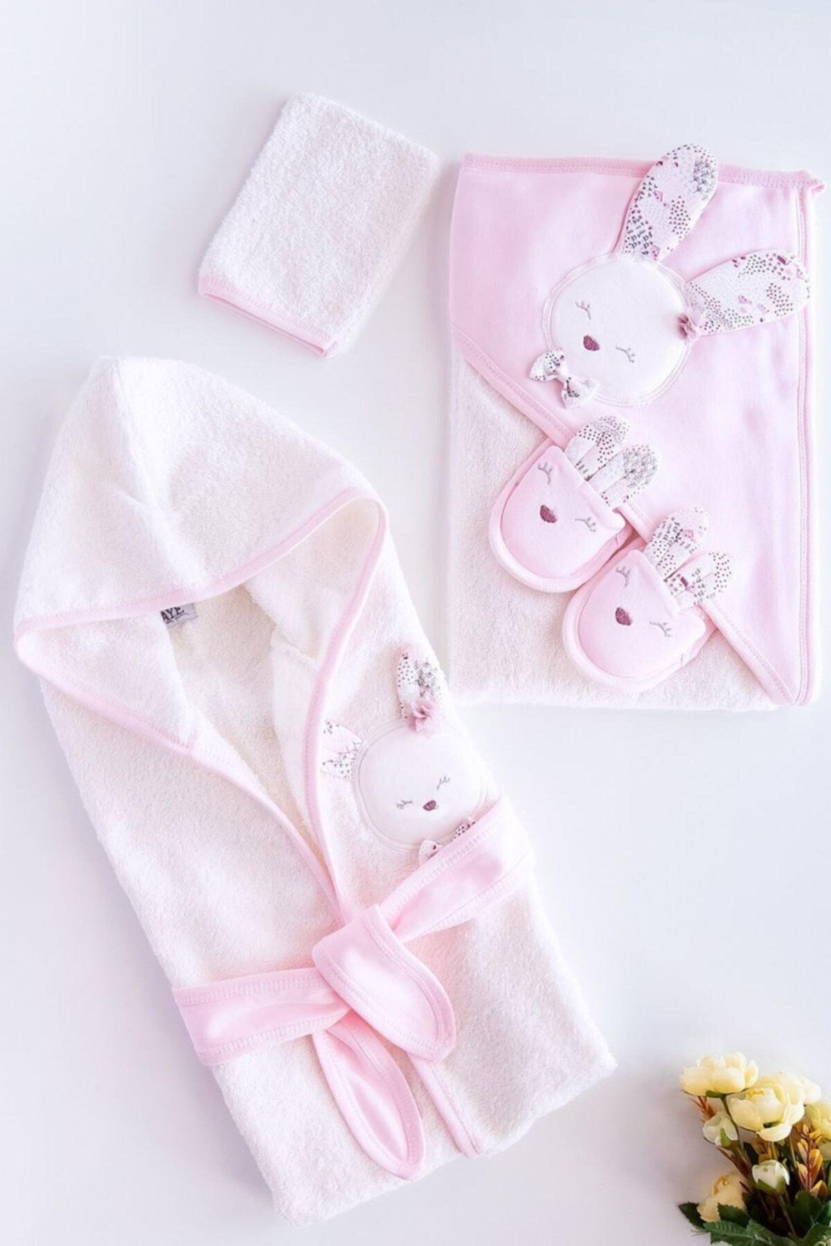 Gaye Bebe Kız Bebek Pembe  Pamuklu Bornoz Takımı 1
