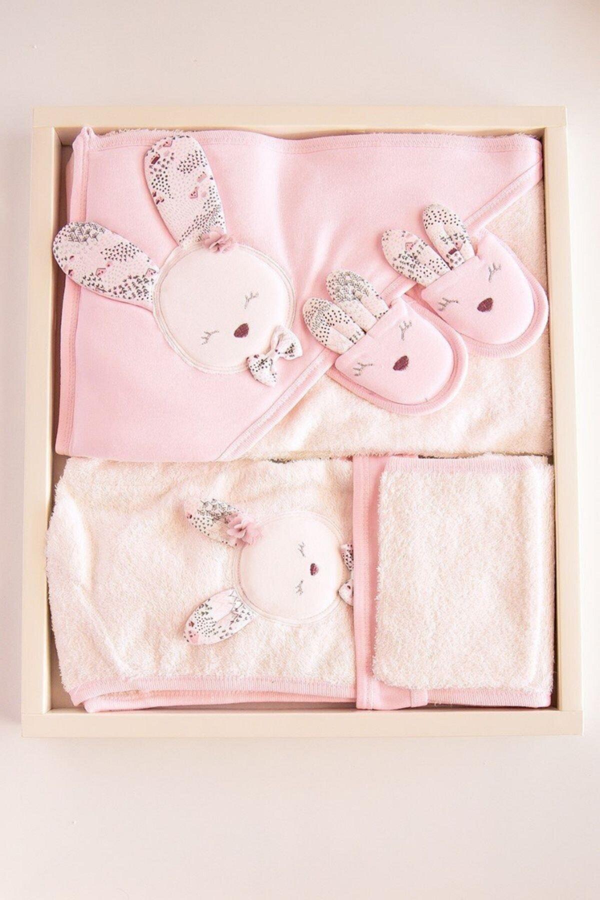Gaye Bebe Kız Bebek Pembe  Pamuklu Bornoz Takımı 2