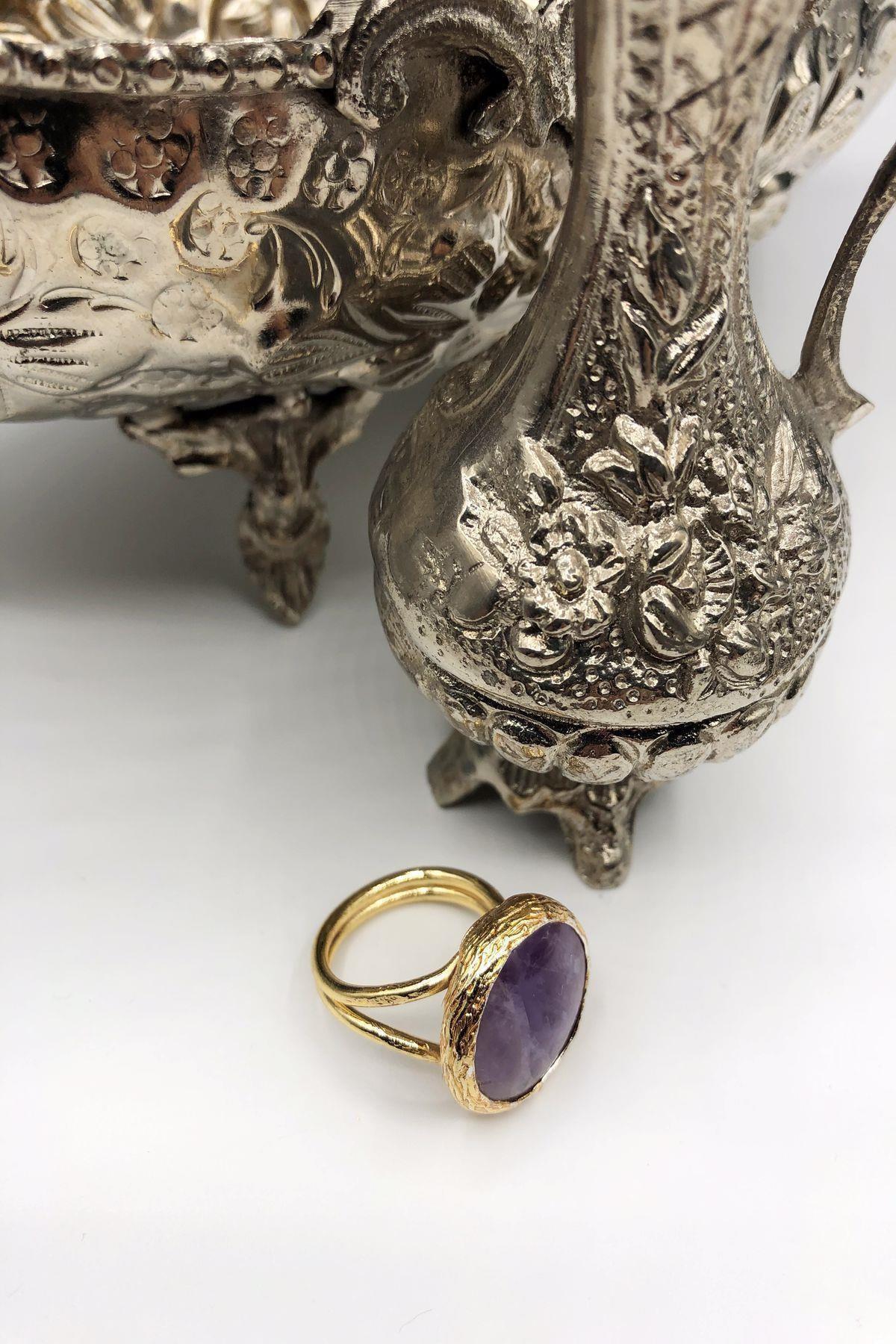 Dr. Stone Kadın Harem Koleksiyonu Ametist Taşı Gümüş Kaplama Her Parmağa Göre Ayarlanabilir Yüzük Ahl88 1