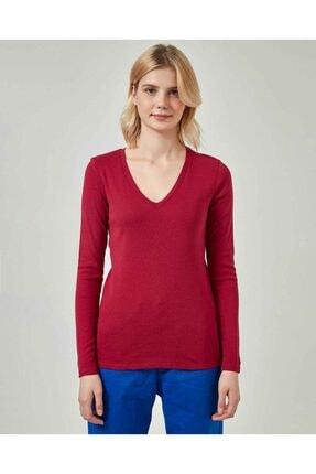 United Colors of Benetton Kadın Bordo Basic V Yaka Uzun Kollu T-shirt