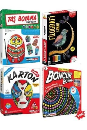 Kumtoys Taş Boyama+karton Maske Boyama+filografi Sanatı+boncuk Boyama 4lü Boyama Sanatı Seti
