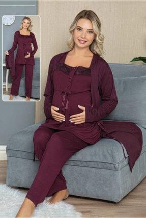 HAYAL Sabahlıklı Lohusa Pijama Takımı - 42308 3lü Sabahlıklı Hamile Pijaması