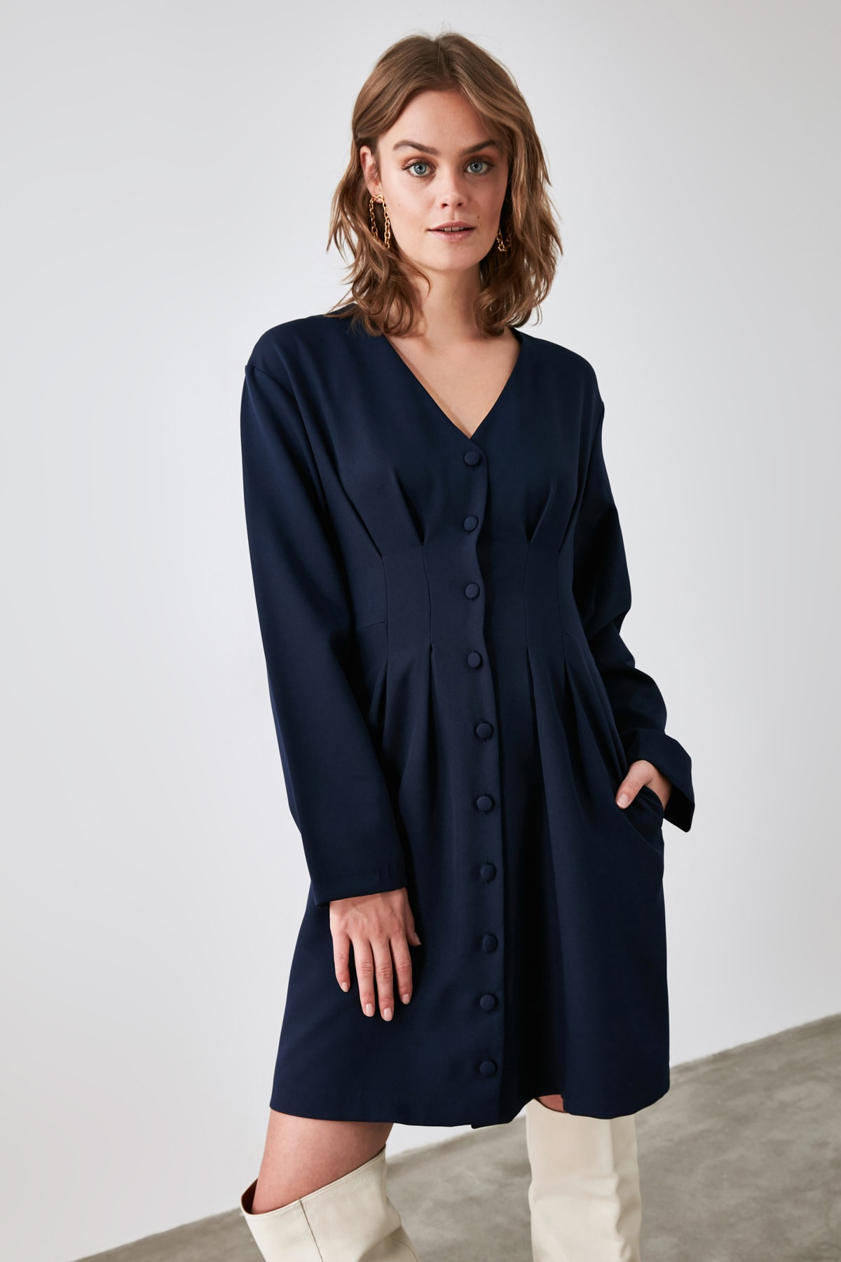 TRENDYOLMİLLA Lacivert Düğmeli Elbise TWOAW21EL1914 1