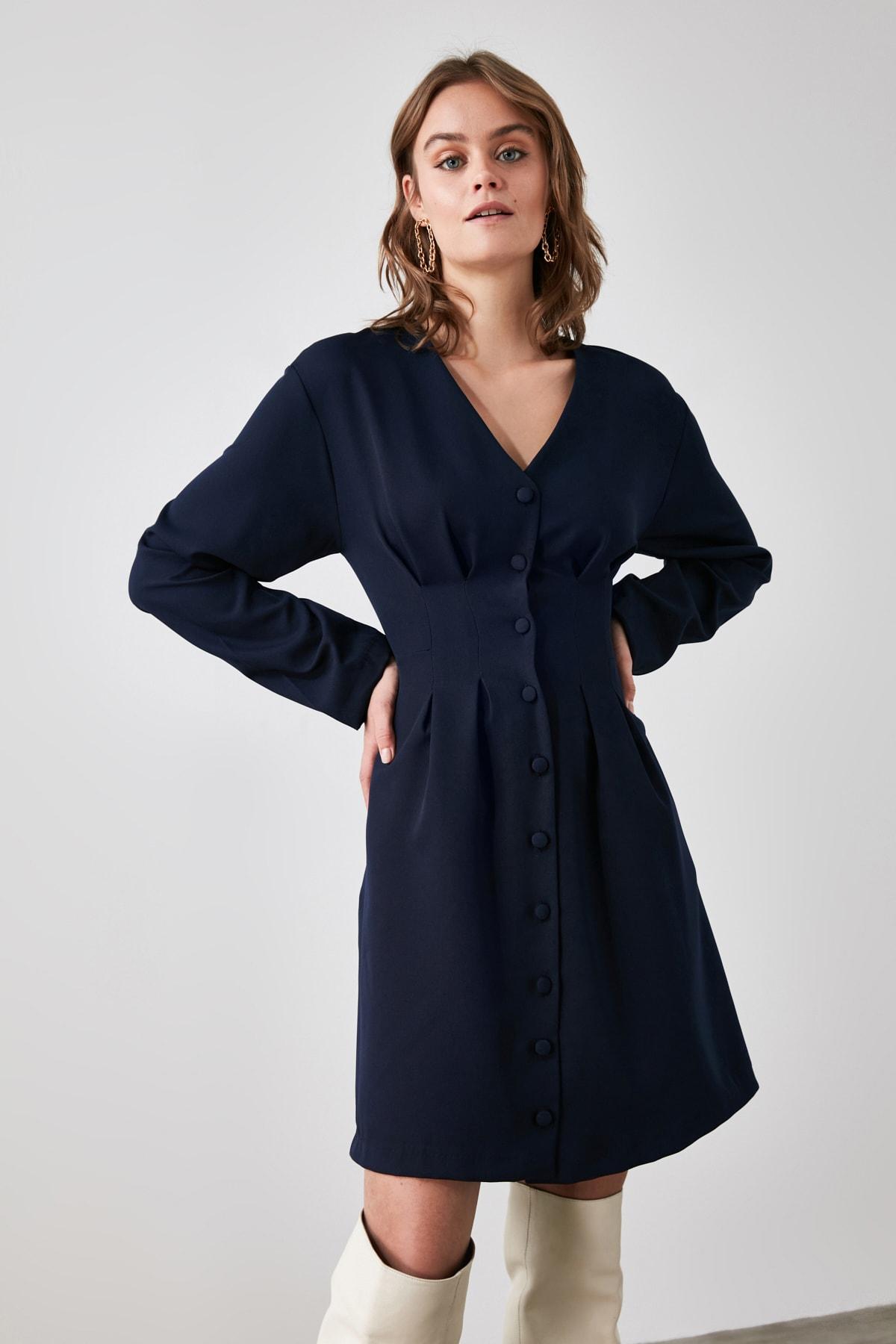 TRENDYOLMİLLA Lacivert Düğmeli Elbise TWOAW21EL1914 2