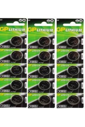 GP Batteries Gp 15 Adet 3 Volt Cr2032 Lityum Düğme Para Pil(dl2032 Bios-kepenk-kumandalithıum Pili)