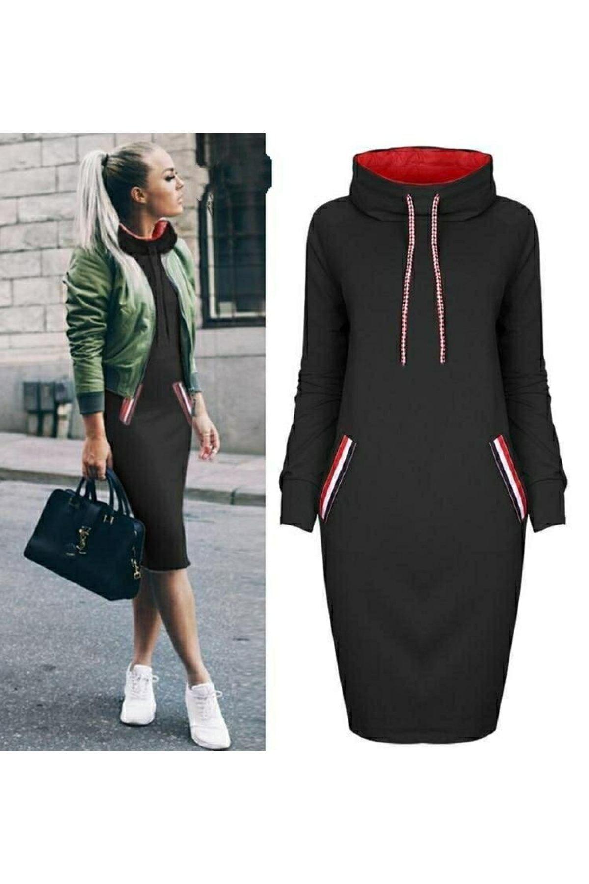 JANES Kadın Siyah Cep Detay Geniş Balıkçı Yaka Elbise 1