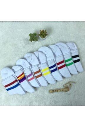 ADEL ÇORAP Unisex  Renkli Şeritleri Olan Beyaz Çoraplar 9'lu