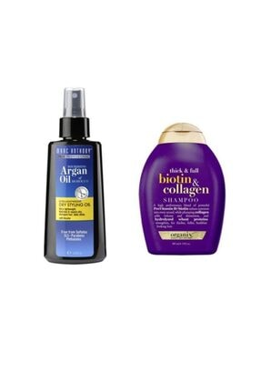 MARC ANTHONY Organix Biotin Collagen Şampuan 385 Ml+ Argan Ve Keratin Kuru Yağ 120 Ml