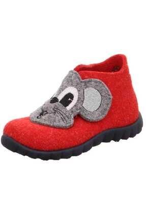Superfit Kız Çocuk Kırmızı Yün Keçe Ev Ayakkabısı