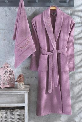 Zeynep Tekstil Arya 2 Parça Nakışlı %100 Pamuklu Bornoz Seti