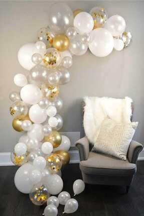 Kullan At Market Altın-beyaz-şeffaf Renkler Dekorasyon Balon Zinciri 62 Parça