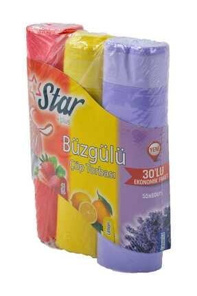 Star Plus Büzgülü Çöp Torbası 55x60 Cm 3' Lü Eko Paket Lavanta-çilek-limon