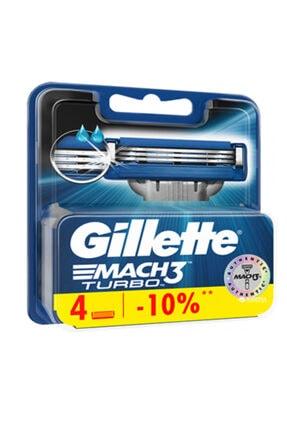 Gillette Mach3 Turbo Yedek Tıraş Bıçağı 4lü Traş Yedeği