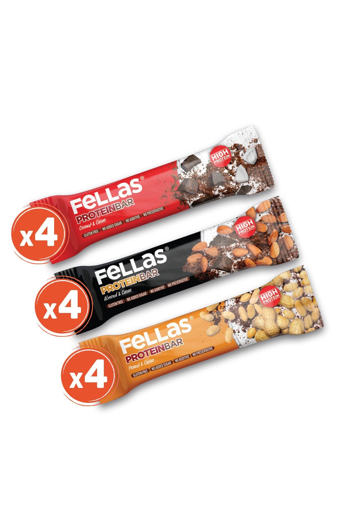 Fellas Yüksek Protein Bar 45g Karma Kutu 12 Adet (3 Çeşit) 1