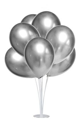 Kullan At Market Standlı Metalik Gümüş Balon Seti 11 Parça