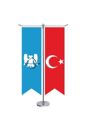Asilmeydan Büyük Selçuklu Imp. - 17 Eski Türk Devletleri Ve Türkiye -kırlangıç -saten T Direk 2li Masa Bayrağı
