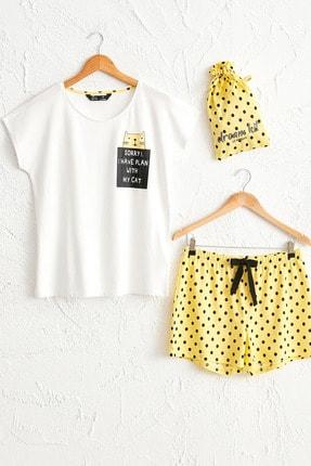 LC Waikiki Kadın Açık Sarı Baskıl Pijama Takım 0SF748Z8