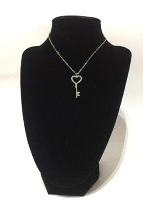 Eymen Stone Gümüş Görünümlü Zirkon Taşlı Kalbimin Anahtarı Bujiteri Kolye