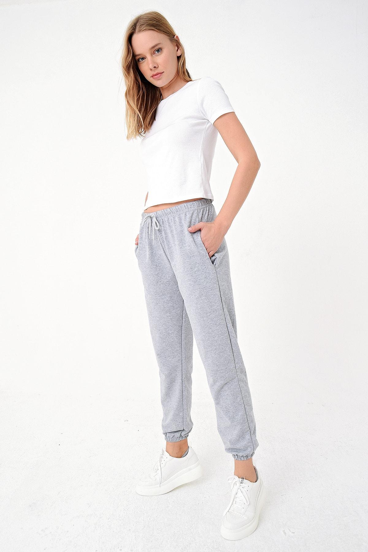 Trend Alaçatı Stili Kadın Grimelanj Paçası Lastikli İki İplik Eşofman Altı ALC-Y2933 2