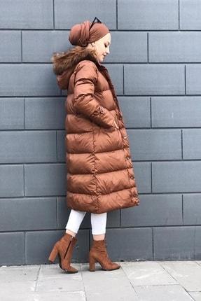 SİVAİST Kadın Kahverengi Armato Peluşlu Şişme Mont