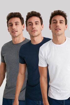 TRENDYOL MAN Çok Renkli Erkek Basic 3'lü Tek Renk Paket Slim Fit T-Shirt - TMNSS19BO0006