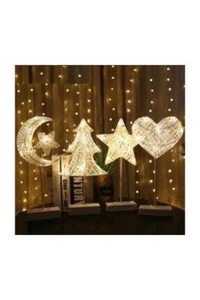 Doğuş Dogusdeco Kalp Bambu Keten Rattan Metal Ayaklı Yüksek Kaliteli Dekoratif Gece Lambası Ip Led