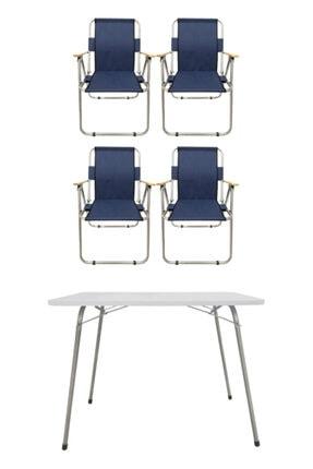 Tedarikcenter 4 Adet Ahşap Kollu Kamp Sandalyesi Ve  1 Adet 80x60 cm Katlanır Masa