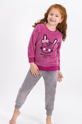 ROLY POLY Rolypoly Rabbit Club Pembe Kız Çocuk Kadife Eşofman Takımı
