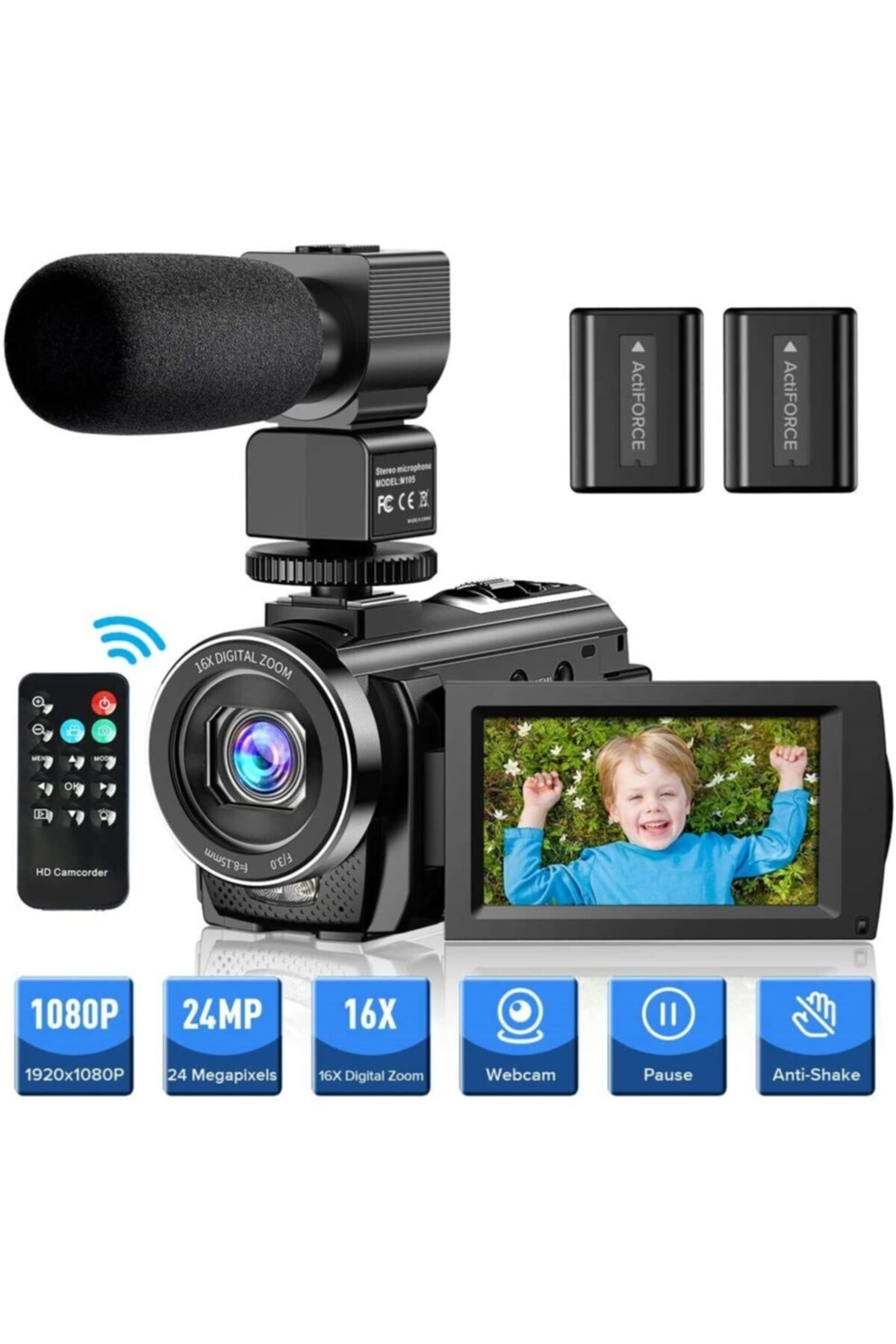 "Actinica Actinow Vlog Kamera 1080p 30fps 24mp 16x Dijital Zoom 3 ""lcd 270 Derece 2"