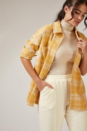 Happiness İst. Kadın Sarı Oduncu Desenli Tek Cepli Yünlü Uzun Kaşe Gömlek BH00304