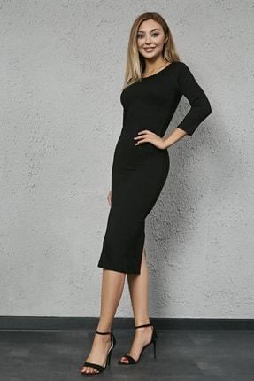 Sateen Kadın Siyah Uzun Kol Midi Kalem Elbise
