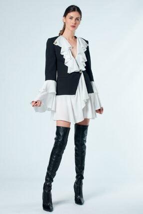 Lefon Kadın Siyah Fırfırlı Krepe Blazer Ceket