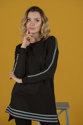 Runever Kadın Siyah Şeritli Tunik Takım