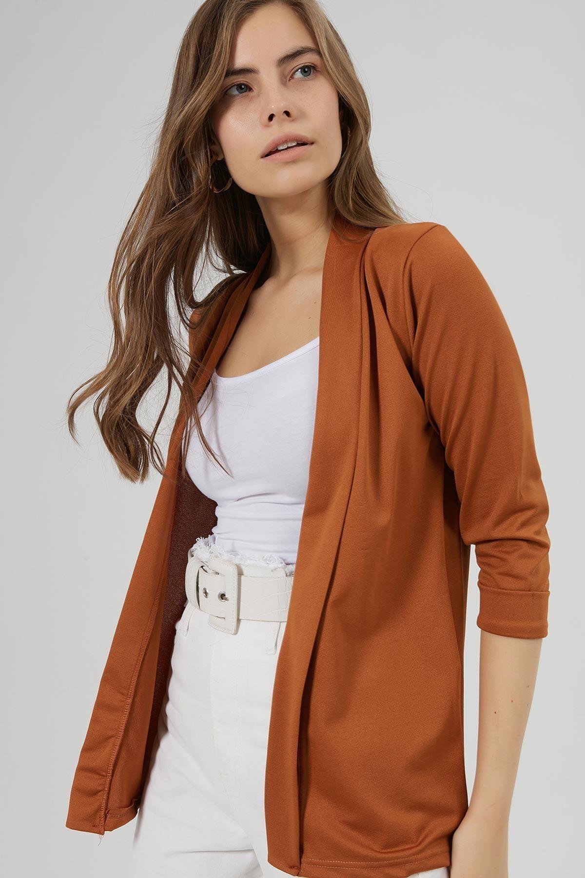 Y-London Kadın Taba Şal Yaka Blazer Ceket Y20W169-1185 1