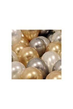 Cakes&Party 30 Adet Metalik Sedefli Gold-gümüş Gri-beyaz Balon, Helyumla Uçan