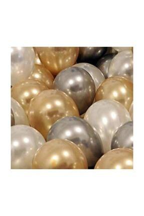 KullanAtParty 30 Adet Metalik Sedefli Gold- Gümüş Gri Beyaz Balon, Helyumla Uçan