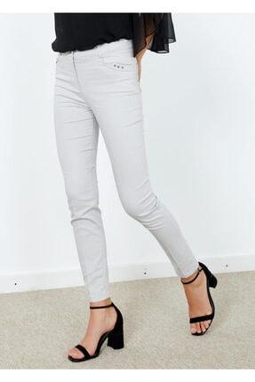 Adze Kadın Gri Slim Fit Likralı Pantalon  44