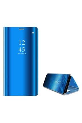 CEPMARKETIM Huaweı Mate 20 Lite Aynalı Kapaklı Kılıf Clear Wallet, Flip Cover, Mavi