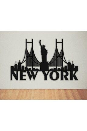 VOİVA New York Şehir Görünümü Duvar Dekoratif Ahşap Büyük Boy Tablo Ev Dizayn Konsept Dekor Yapıştırıcılı
