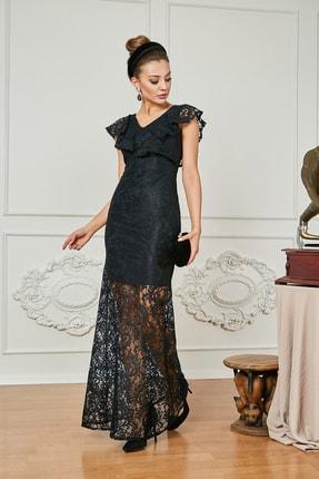 Sateen Kadın Siyah Fırfırlı Dantel Uzun Abiye Elbise