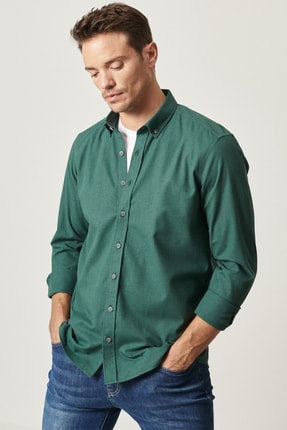 ALTINYILDIZ CLASSICS Erkek Yeşil Tailored Slim Fit Düğmeli Yaka Flanel Kışlık Gömlek