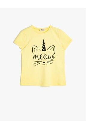 Koton Kids Çocuk Sarı Yazılı Baskılı T-Shirt