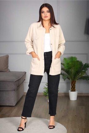 Madmext Kadın Bej Düğmeli Ceket