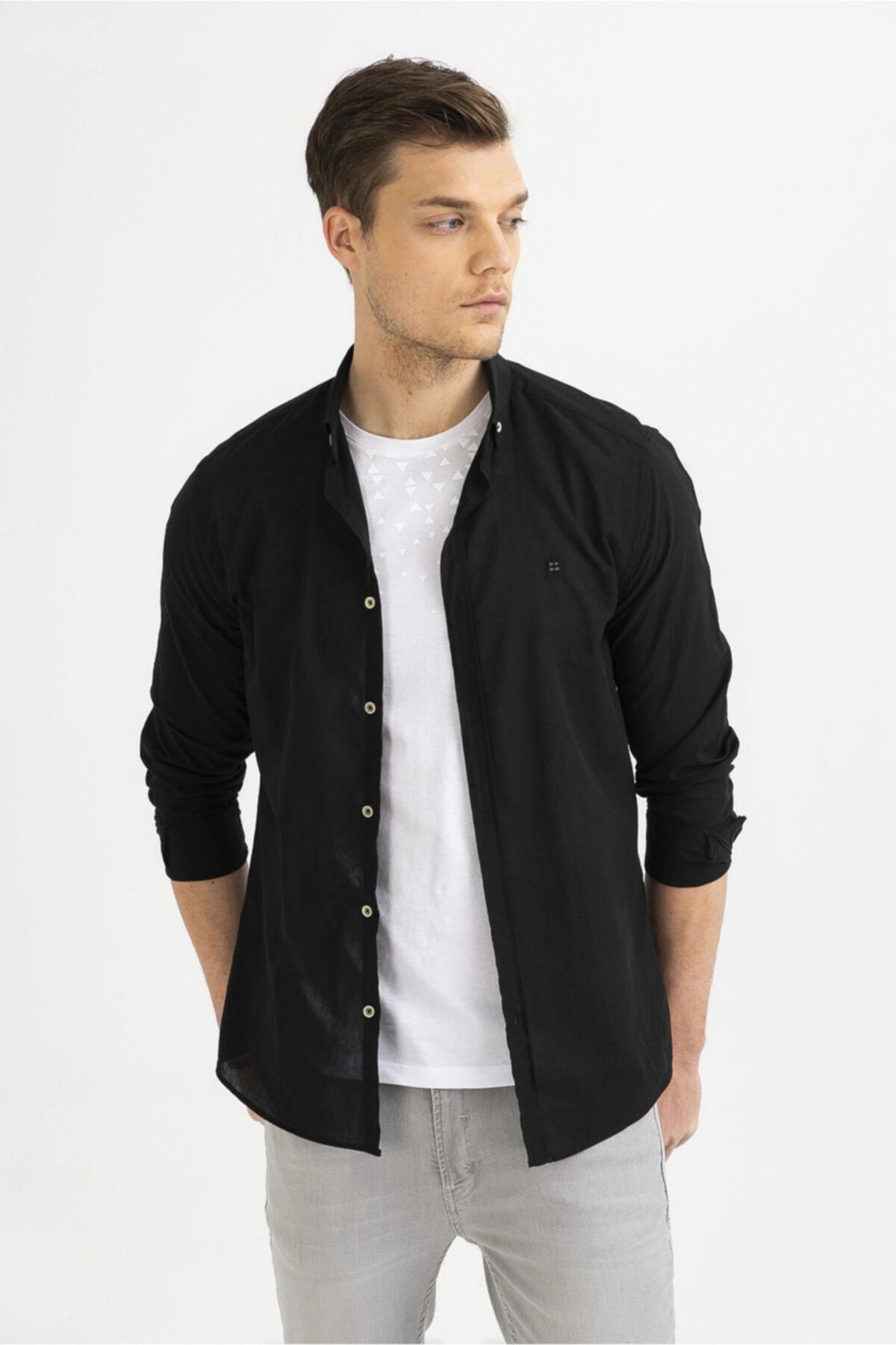 Avva Erkek Siyah Düz Düğmeli Yaka Slim Fit Uzun Kol Vual Gömlek A01S2206 2