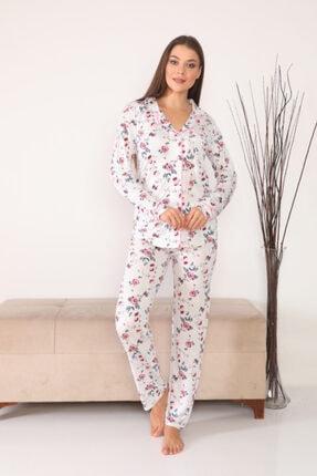 TRES Kadın Pembe Önden Düğmeli Uzun Kollu 4 Mevsim Pijama Takımı