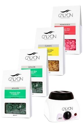 CALYON 2 Adet Azulen+1 Adet Naturel+1 Adet Pudralı Soyulabilir Inci Boncuk Ağda+800 Ml Ağda Makinesi