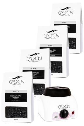 CALYON 4 Adet Siyah Peeling Etkili Soyulabilir Inci Boncuk Ağda+800 Ml Ağda Makinesi