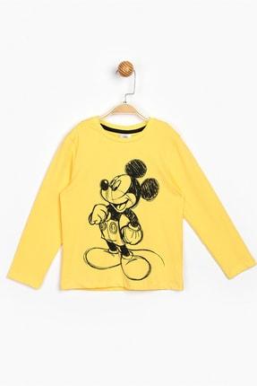 Mickey Mouse Çocuk Sarı Mickey Baskılı Uzun Kol T-Shirt