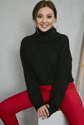 Sateen Kadın Siyah Örgü Desenli Boğazlı Uzun Triko